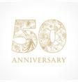 50 anniversary vintage logo vector image vector image