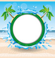 a round frame with palm trees vector image vector image