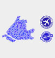 aircraft collage south holland map and vector image vector image