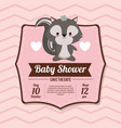 baby shower card invitation save the date - skunk vector image