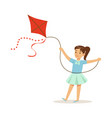beautiful girl playing with kite kids outdoor vector image vector image