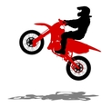 Black silhouettes Motocross rider on a motorcycle vector image vector image
