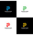 bold letter p and i logo icon flat design vector image