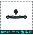 car accident icon flat vector image vector image
