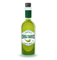 Chili pepper green sauce in bottle vector image