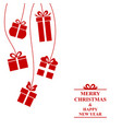 christmas greeting card with hanging gifts vector image vector image