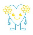 color line smile heart with flowers kawaii with vector image vector image