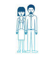 couple in degraded blue silhouette and her with vector image vector image