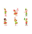 cute children dressed as christmas elves set boys vector image vector image