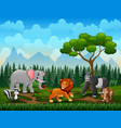 different kind animals in park vector image vector image