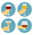 flat wine icons vector image