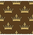 Golden crowns seamless pattern vector image vector image