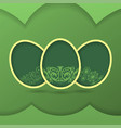 greeting card with green easter eggs vector image vector image