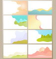 ground and sky with clouds mountains hills set vector image