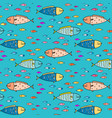 hand drawn abstract fish pattern background vector image vector image