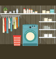 laundry room with washing machine vector image vector image