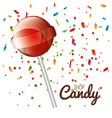lollipop red sweet with confetti isolated vector image