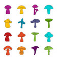 mushroom icons doodle set vector image