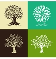 oak trees silhouette set vector image vector image