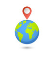 planet and map pins icon earth and colorful map vector image