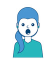 portrait surprised young woman face expression vector image vector image