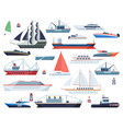 sea ships fishing boat and big vessel vector image