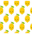 seamless pattern with cute lemons on the white vector image