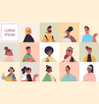 set men women avatars avatars happy people looking vector image vector image