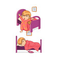 sleep time and girl collection vector image