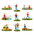 summer outdoor activities kid playing football vector image vector image
