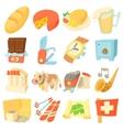 Switzerland travel icons set cartoon style vector image vector image