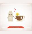 tea cup milk and lemon hipster best friends vector image vector image