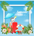 tropical holidays frame background vector image vector image