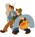 Two cartoon men walking together after shopping vector image