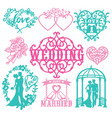 vintage paper cut wedding theme set vector image