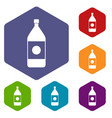 water bottle icons set hexagon vector image vector image