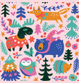 winter animals seamless pattern in cartoon vector image vector image