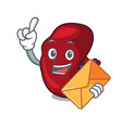 with envelope spleen character cartoon style vector image