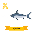Xiphias X letter Cute children animal alphabet in vector image