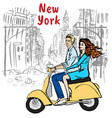 young man and woman in new york vector image