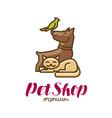 pet shop label or logo animals parrot dog cat vector image