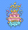 monster cake for the 25th anniversary cartoon vector image