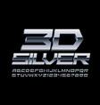 3d silver futuristic font metallic font vector image