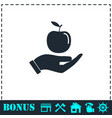 apple in hand icon flat vector image vector image