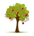 Apple Tree Isolated on a White Background vector image vector image