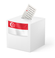 Ballot box with voting paper Singapore vector image vector image