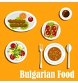 Bulgarian cuisine nutritious dinner dishes vector image vector image