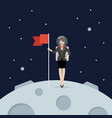 business woman astronaut landing on moon holding vector image vector image