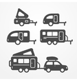 Camping trailer set vector image vector image