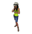 cartoon beautiful girl in the hat reads a note vector image vector image